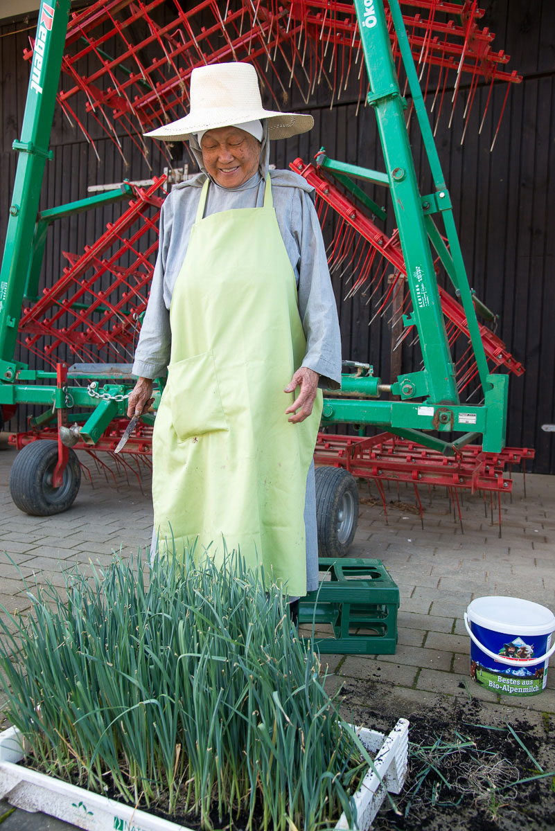 ältere Frau bei der Landarbeit