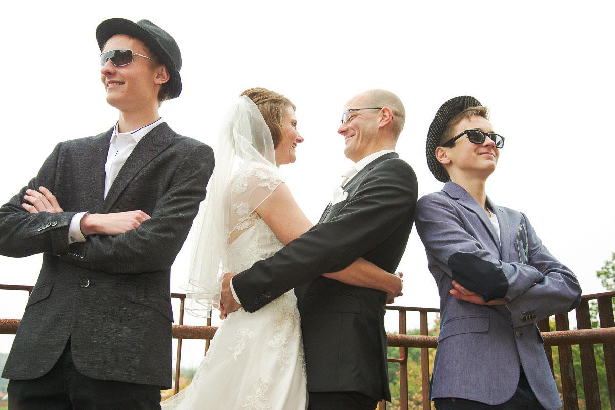 lustiges Hochzeitsfoto mit den Blues Brothers